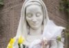 Virgin Mary Statue with Flower Offerings by brandtbolding
