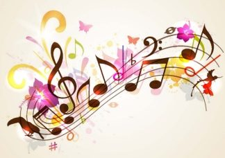music abstract with notes and flowers
