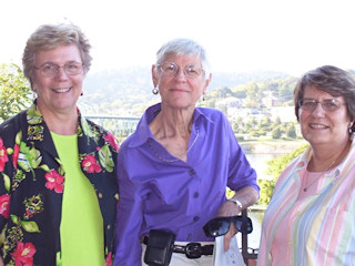 Ruth (center) celebrated her 75th birthday with her friends Jean Wright (L) and Barbara Gifford (R).
