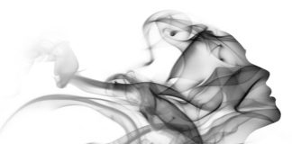 Woman smoke abstract