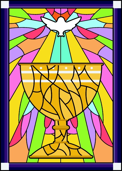 Stained Glass Chalice Dove by Lorelyn Medina