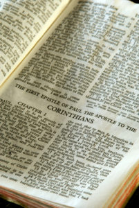 Bible Open to First Corinthians