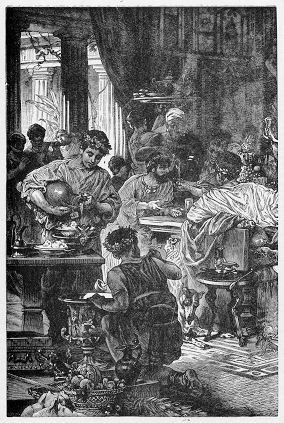"""Representation of an elite Roman banquet, a """"table of demons,"""" according to the Apostle Paul."""