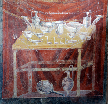 An Ancient Roman mural depicting silver table ware.