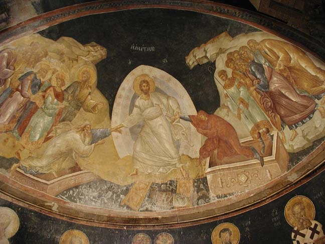 Painting of Jesus' resurrection from Chora Church, Istanbul, Turkey.