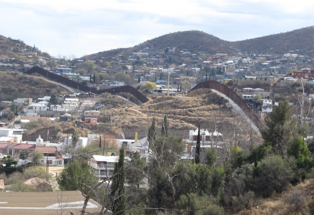 Another view of the wall along the US - Mexican border near Nogales, Arizona