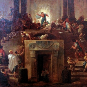 "Detail from Hubert Robert's ""Christ Expulses the Money Changers Out of the Temple"""