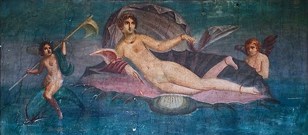 A wall painting from Pompeii of a relatively tame image of the goddess Aphrodite--Wikipedia