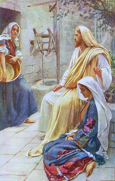 Jesus at the house of Mary and Martha, painting by Harold Copping