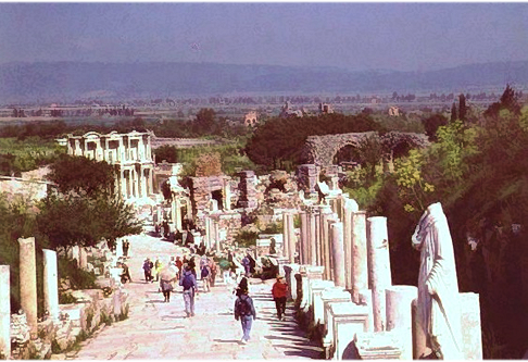 A main street in ancient Ephesus in Asia Minor (now Turkey) . Photo by Reta Finger.
