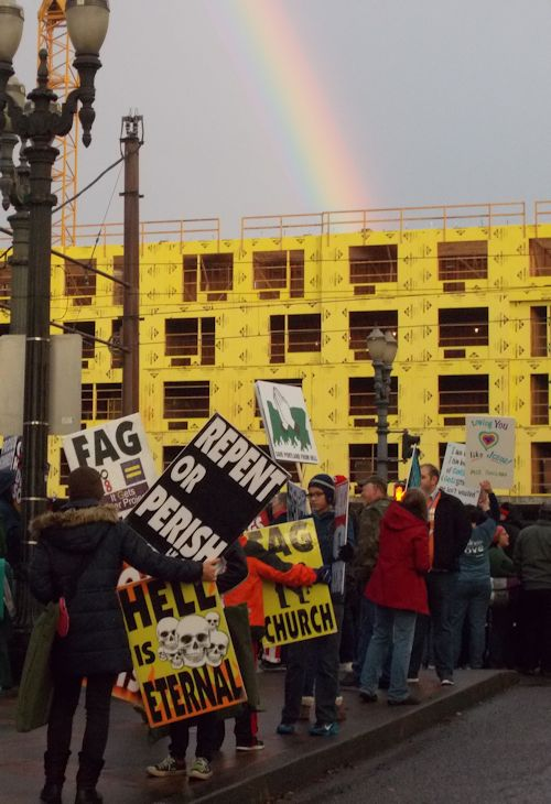 Rainbow over anti-gay protesters, Portland, 2015