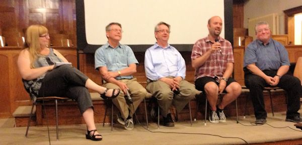 Wendy Gritter moderating a panel discussion after a screening of Seventh Gay Adventists.