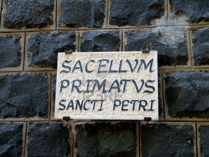 Sign outside of the Church of the Primacy of Saint Peter. Photo by Reta Finger