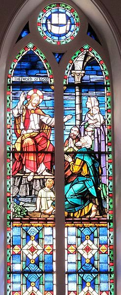 The Word of God stained glass window at St. Matthew's Lutheran Church in Charleston, SC. Franz Mayer & Co. of Munich,