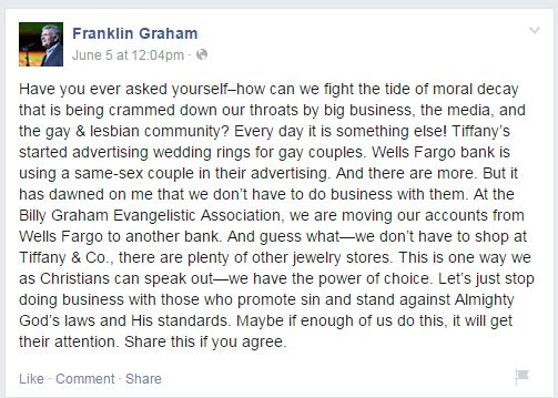 Franklin Graham Facebook Post