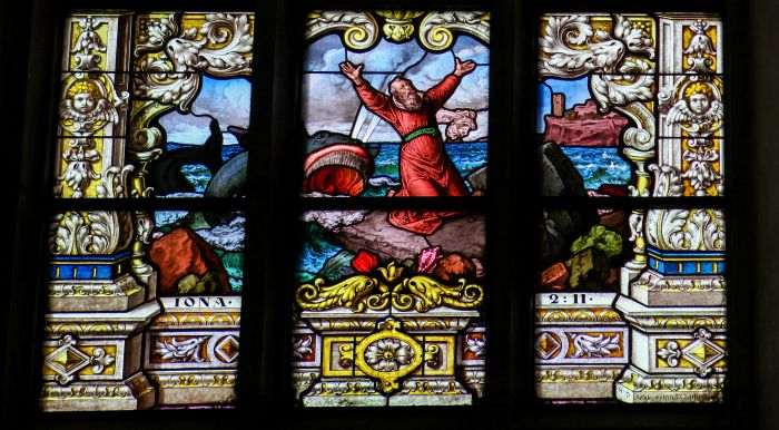 Beautiful stained glass window created by F. Zettler (1878-1911) at the German Church (St. Gertrude's church) in Gamla Stan in Stockholm.