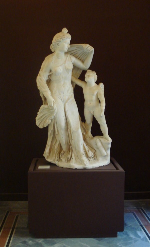 Statue of Aphrodite and Eros, photo by G. Dall'Orto. From Wikimedia commons.