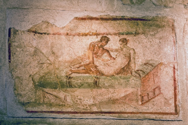 Erotic fresco in Pompeii