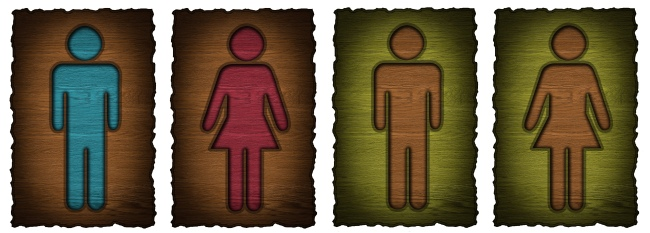 Bathroom Signs in Wood