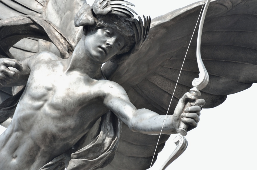 Detail of a statue of Eros, Piccadilly, London