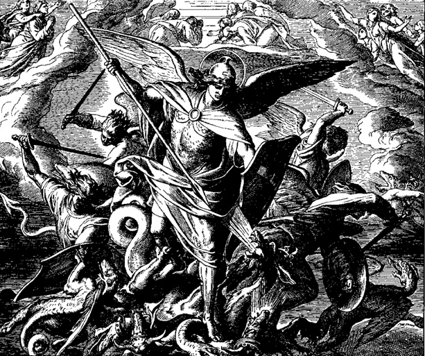 The angel Michael making war on the dragon Woodcut by Julius Schnorr von Carolsfeld (Public Domain) via Wikimedia Commons