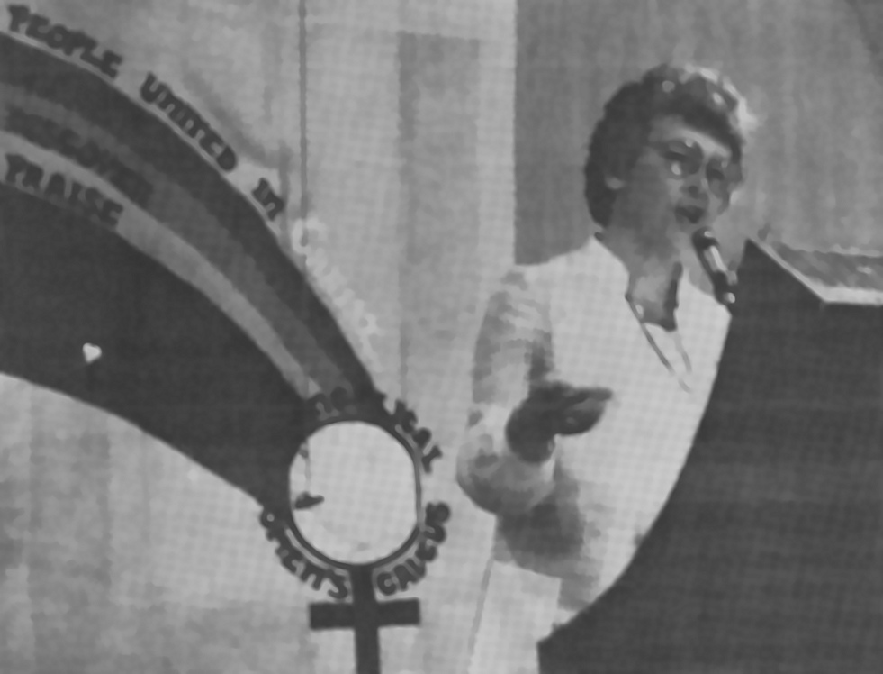 Virginia Ramey Mollenkott speaking at an EWC conference in 1980