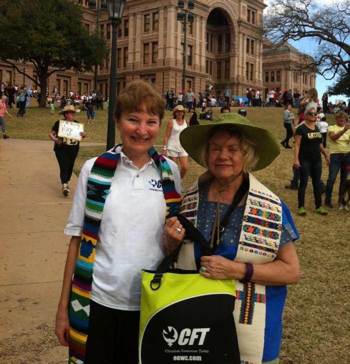 Rev. Jann Aldredge-Clanton and Rev. Judith Liro at the Women's March in Austin, Texas