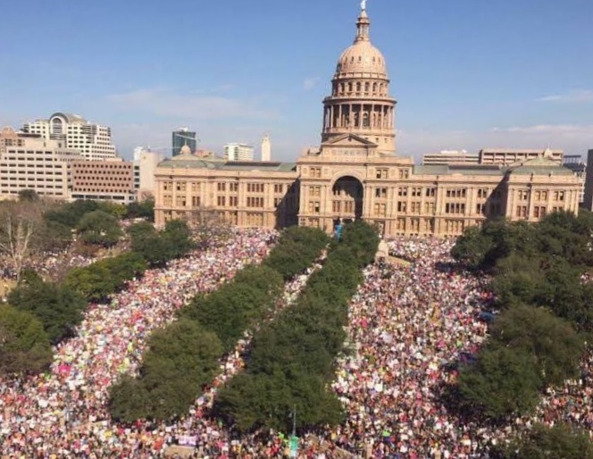 Crowd at the Women's March in Austin, Texas