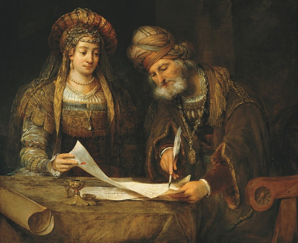 """Esther Talking to Mordecai"" painting"