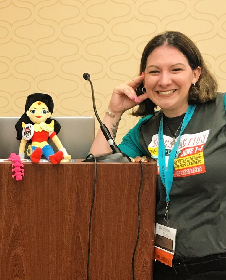 Dr. Christy Sim and her Wonder Woman doll