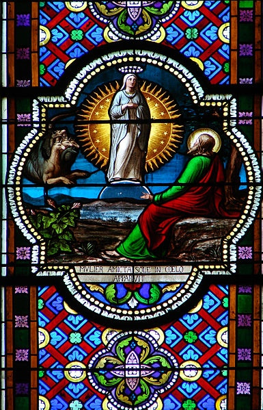 Stained Glass Featuring a Scene From Revelation