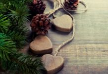 Christmas greenery and heart garland