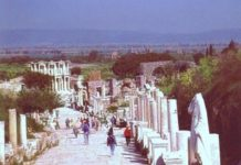 Walking on the main street of ancient Ephesus. Photo by Reta Finger