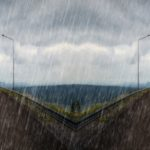 Opposition - falling rain and split road graphic