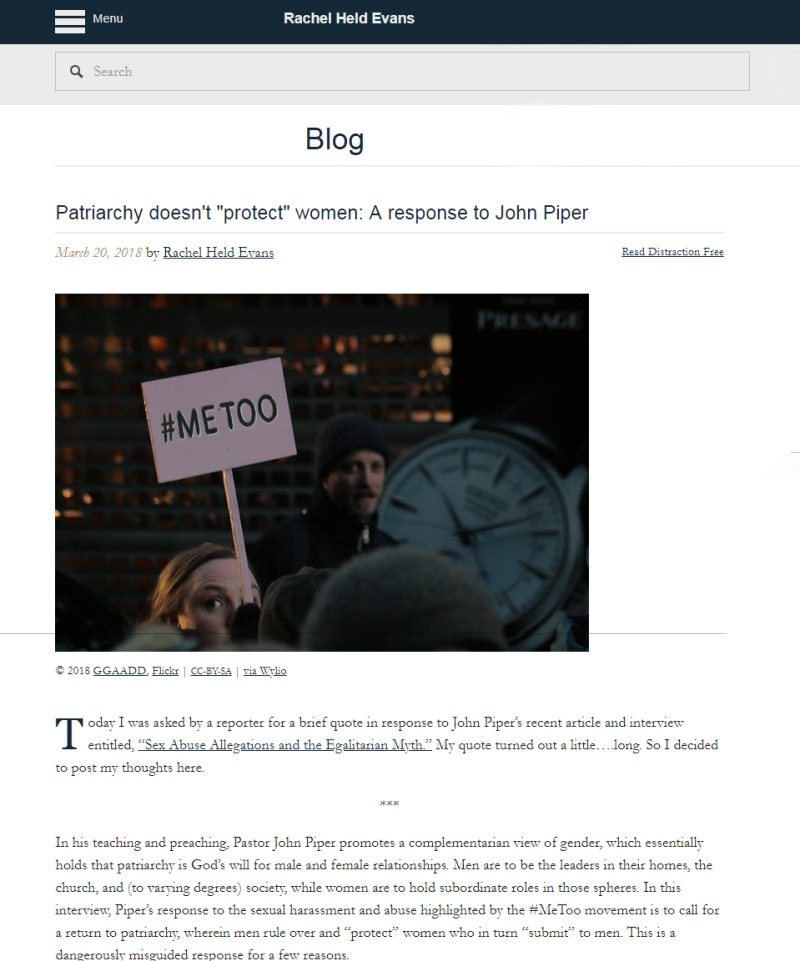 Screenshot of Rachel Held Evans blog post