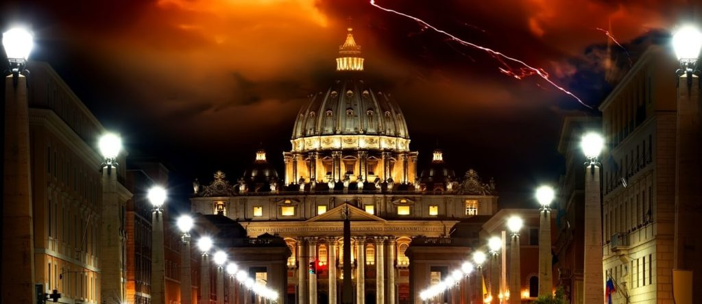 Vatican with lightning in the background