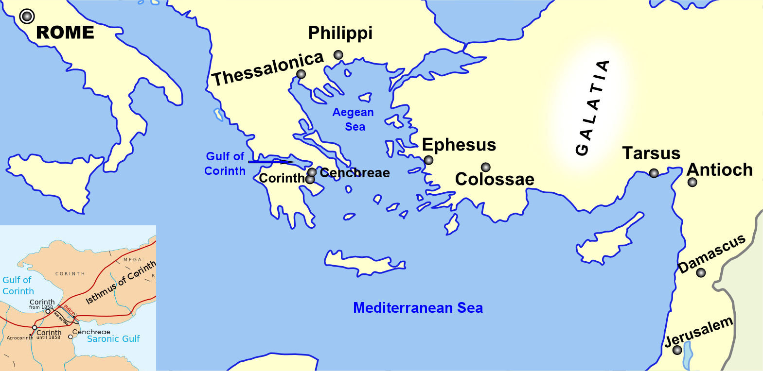 Map of Paul's Travels and Letters