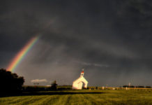 Angry Sky, Rainbow, and a Crooked Church
