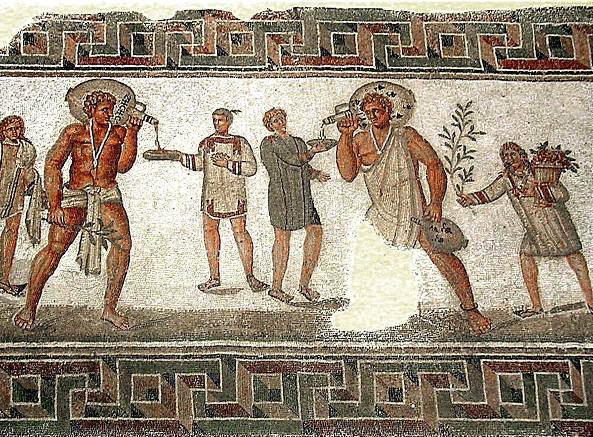 Roman mosaic from Dougga, Tunisia (2nd century AD). Photo by Pascal Radigue. From Wikipedia.
