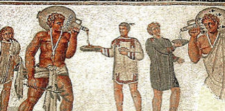 Detail from Roman mosaic from Dougga, Tunisia (2nd century AD). Photo by Pascal Radigue. From Wikipedia.