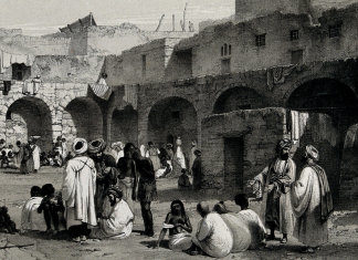 Slave market, Cairo ; on stone by J.C. Bourne from a drawing by O.B. Carter, the figures by H. Warren, image courtesy of the Wellcome Museum, https://wellcomecollection.org/works/jwvub5kk