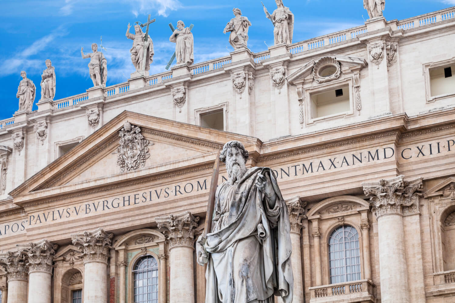 Statue of Paul the Apostle in front of St Peter's Basilica on Piazza San Pietro, in Vatican City