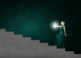Social Distancing as a Woman Ascending Stairs with a Lamp