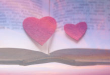 "Pink clouds, felt hearts, and a dictionary, used to illustrate ""The Gracespeak Lexicon"""