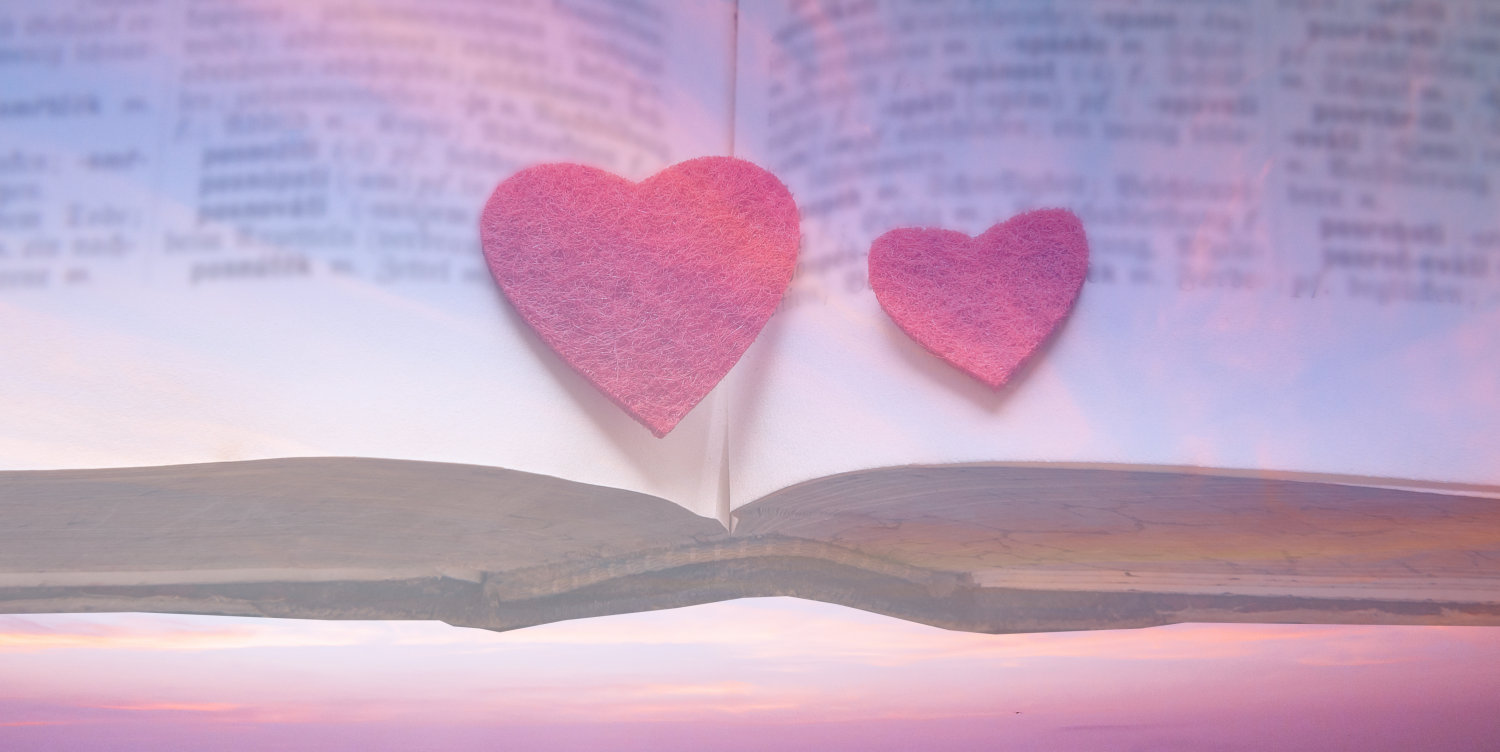 """Pink clouds, felt hearts, and a dictionary, used to illustrate """"The Gracespeak Lexicon"""""""