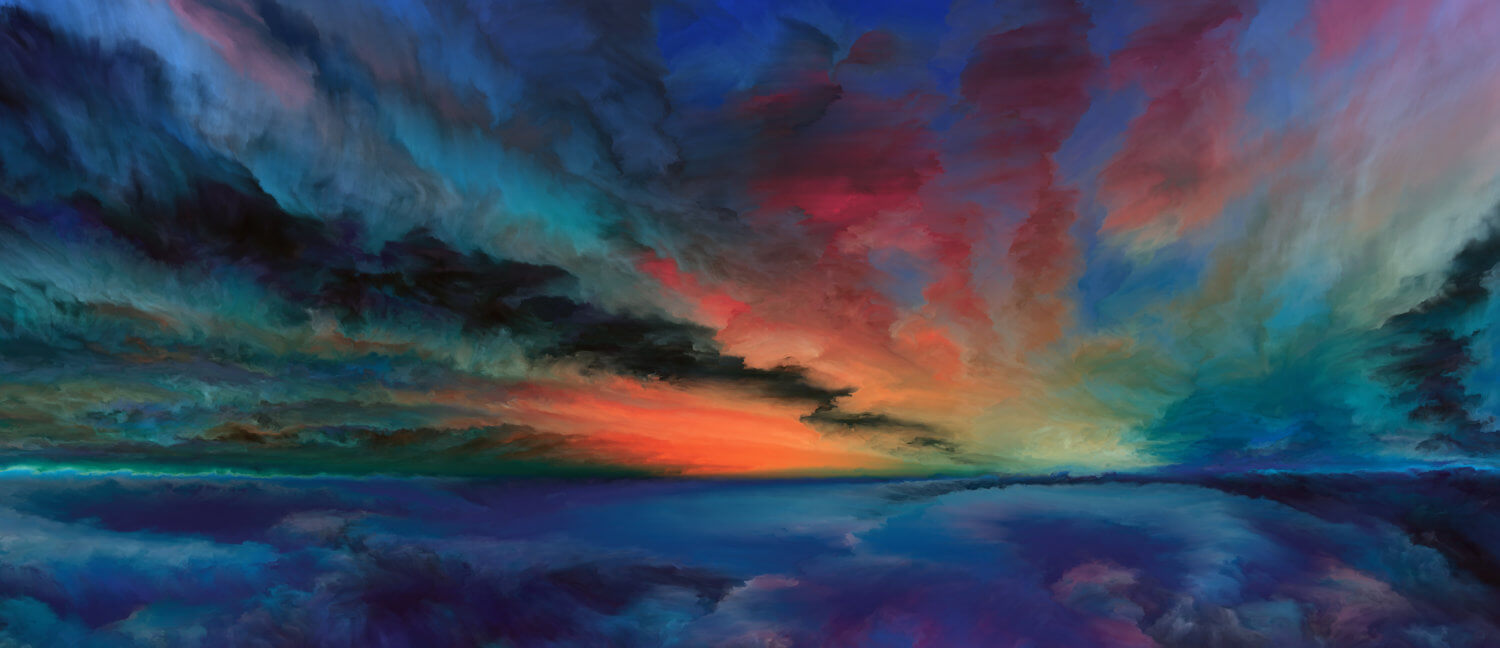 Abstract dark painting resembling a sunset