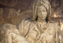A Pieta carved in stone