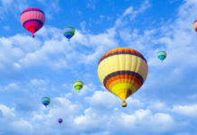 Multicolor Hot Air Balloons in the Sky